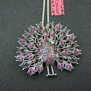 Women's Pink Crystal Enamel Peacock Pendant Betsey Johnson Necklace/Brooch