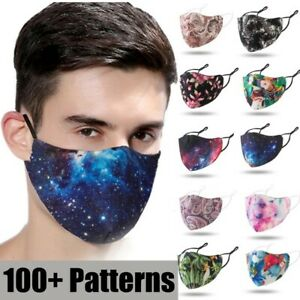 Reusable Washable Breathable Face Mask Covering With 3D Fashion Pattern Prints
