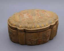Rare Egyptian Box Antiques Egypt Pharaonic 10 Amulet Scarab Carved Stone Bc