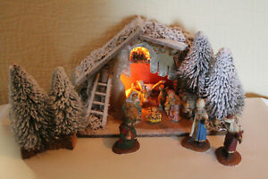 Vintage Large Nativity Scene Light Up Stable And Figures