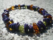 """Bracelet """"Chamanique"""" en Turquoise Mauve Arizona, Ambre et Peridot !!!"""