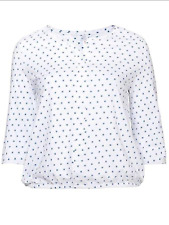 Sheego at Kaleidoscope Plus Size 26 28 White Blue Star Print Blouse TOP Casual