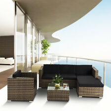 6PC Outdoor Patio Furniture Rattan Wicker Sectional Modern Sofa Chair Couch Set