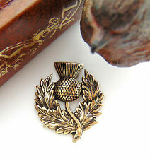 ANTIQUE BRASS Scottish Thistle Spray Flower Stamping  Oxidized Finding (FB-6106)