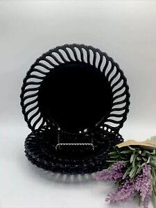 SET OF 3 ~ VINTAGE BLACK AMETHYST GLASS ATTERBURY PLATE ~ PINWHEEL EDGE DESIGN