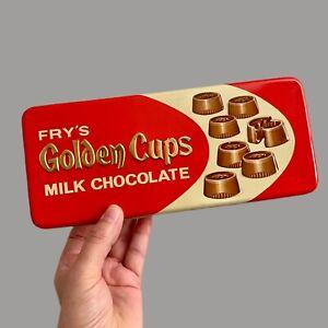 Vintage ✅ Blechdose: Fry's Golden Cups Chocolate 24x10x3,5cm Schokolade Werbung