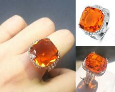 Orange Crystal Stones Engagement Ring Big Zircon Large Jewelry Women Accessories