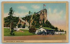 Postcard MI St Ignace Michigan Castle Rock c1940s AF8