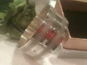 QUALITY VINTAGE ENGLISH BUCKLE BANGLE-CUFF DESIGN-STERLING SILVER -35.11 grams
