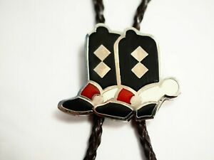 Vintage Enamel Cowboy Boots Bolo Tie Necklace