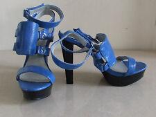 BNWB UK 4 stuinning Azul Tacones Altos Stiletto Zapatos Sandalias EU 37 Nuevo Con Caja