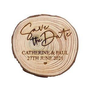 Engraved Save the Date personalised log slice, rustic wedding invitation, laser