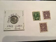 Canada George VI Ten Cents Dime Silver 1943 XF Flashy stamp1C &  Postage Due lot