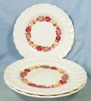 3 Copeland Spode Rose Briar Bread & Butter Plates Chelsea Wicker Floral 2/7896