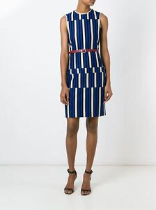 LANVIN 1780$ Authentic New Electric Blue Striped Cotton Sleeveless Dress SS2016