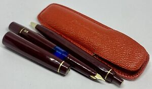 Vintage BURGUNDY Kaweco Sport V16  fountain pen& 619 ballpoint pen SET in Pouch