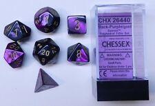 Chessex 7 Dice Set Gemini Black-Purple w Gold CHX 26440 for D&D & D20