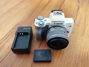 Canon EOS M50 24.1 MP Mirrorless Camera - White Body w/ Gray 15-45mm Kit Lens