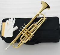Professional Eb Bass Trumpet horn Gold Lacquer 3 Piston With Case
