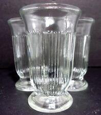VTG 1960s (3) Art Deco Stripe Bars Clear Pressed Jelly Jar Orange Juice Glasses