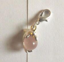 charms argentée dauphin perle oeil de chat en verre mauve rosé