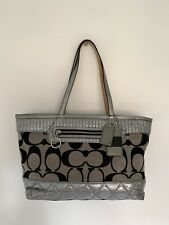 Coach 18676 Poppy Silver Pewter Signature Quilted Handbag Purse Shoulder Bag
