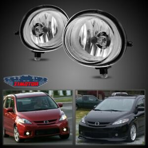 Fit Mazda 5 05-10 Clear Lens Pair Bumper Fog Light Lamp OE Replacement DOT Bulbs