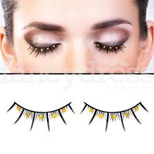 Baci Eyelashes Black Yellow Gems Fancy Dress Evening New Years False Lashes 502
