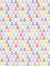 Fabric Nautical Anchors Primary Colors on White Flannel 1/4 Yard