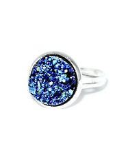 Statement Galaxy Blue Druzy Cocktail RING- Silver Jewellery- Crystal -Adjustable