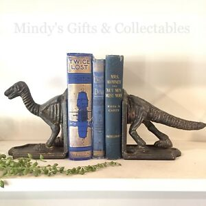 Set of 2 Heavy Antique Style Cast Iron Dinosaur Book Ends Bookends Door Stop