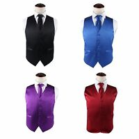 MENS VEST & NECK TIE SET WAISTCOAT BLACK BLUE PURPLE RED WEDDING TUXEDO SZ S-4XL