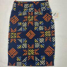 LuLaRoe Cassie Pencil Skirt - Size Small - Navy Blue Orange Yellow Geometric