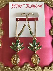 Betsey Johnson Summer Picnic Lucite Pineapple Crystal Fruit Large Hook Earrings