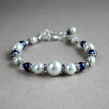 Vintage white midnight blue pearls silver wedding bridesmaid bridal bracelet