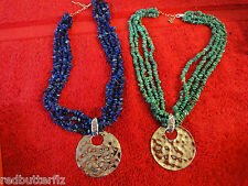 2 lot Sterling silver 925 Pendants on gemstone necklace Turquoise & lapis colors