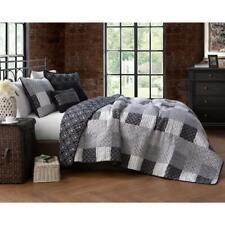 Quilt Set Full Queen 5-Pcs Black White Patchwork Print Reversible Bedroom Linen
