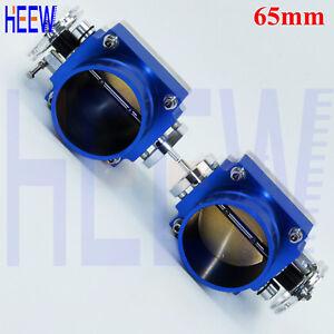 "Blue Universal High Flow Aluminum Intake Manifold 65MM 2.55"" Throttle Body 2KIT"