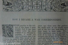 How I Became a War Correspondent Archibald Forbes Antique Victorian Article 1884
