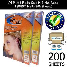 PROJET A4 INKJET PHOTO MATT PAPER 130GSM X 200 SHEETS IN 2 PACKS OF 100