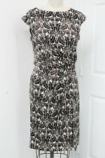 Tory Burch Brown & White Knit Knotted Waist Dress Size L