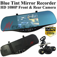New Blue Tint 1080P HD Front/Back Up Camera Recorder Rearview Mirror #m30 Saab