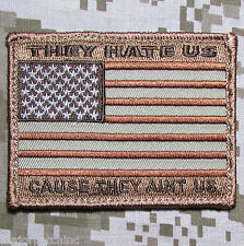 They Hate Us Ain'T Us American Usa Flag Army Morale Badge Desert Hook Patch
