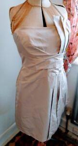 LOVELY Karen Millen nude satin strapless boned occasion dress UK12