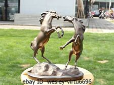 Chinese Bronze Marble Two Horse Fighting Battle Art Deco Sculpture Statue A2