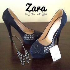 Zara Black Diamonte Platform Heels Size Uk5/38 BNIB