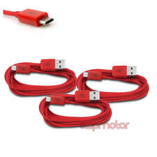 3X 6FT MICRO USB DATA SYNC CHARGER CABLE RED DROID HTC EVO ONE NEXUS 7 KINDLE