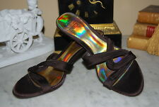 MOOTSIES TOOTSIES BROWN SATIN HIGH HEEL WOMEN'S SANDALS SHOES NWOB SIZE 8 1/2 M