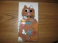 2  Hagstrom Signed Ceramic Tiles Showing Cat with Mouse Wearing Fish Necklace