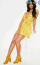 Pretty Little Thing BNWT Yellow Floral Lace Up Back Wrap Frill Tea Dress 10